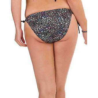 Womens Mio Swim Metallic Snake Print and Black Trim Ladies Bikini Brief