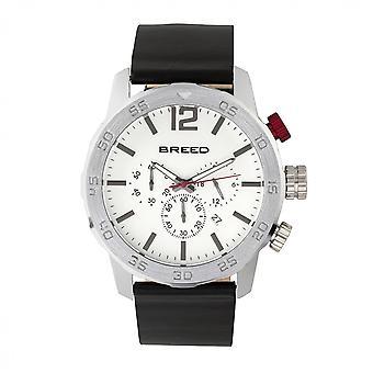 Züchten von Manuel Chronograph Lederarmband Watch w/Datum - Silber