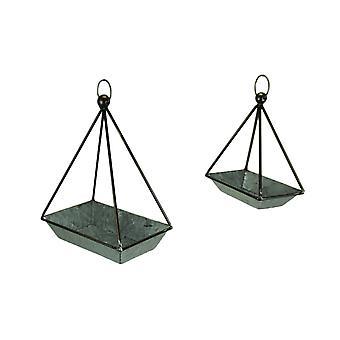 Galvanized Metal Standing or Hanging Indoor Outdoor Planters Set of 2