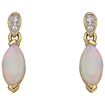 Elemente Gold Diamant und Opal Ohrringe - Gold Gelb