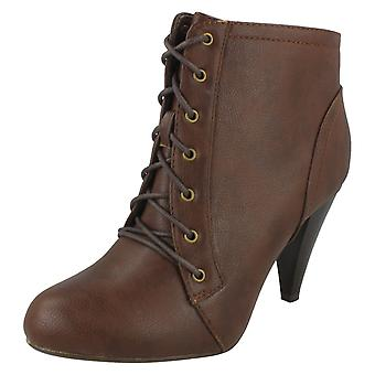 Ladies Casual Lace Up Heeled Ankle Boots