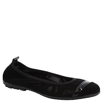 Leonardo schoenen vrouw handgemaakte opengewerkte ballerina's in zwart leer