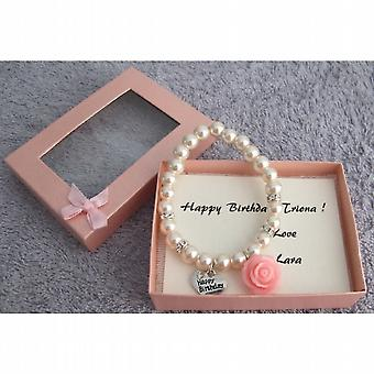 Happy Birthday Bracelet Blush Pink Pearl Bracelet