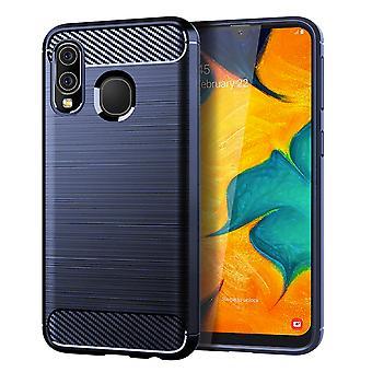 Samsung Galaxy A40 TPU tapa uksessa hiili kuitu optiikka harjattu suoja kotelo sininen
