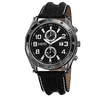 August Steiner mäns AS8117BK schweiziska kvarts multifunktions med läderrem Watch
