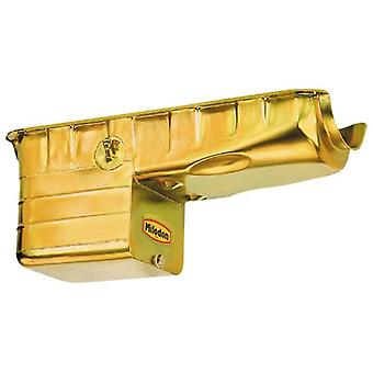 Milodon 31100 Steel, Gold Zinc Plated Street and Strip Deep Sump Oil Pan for Big Block Chevy