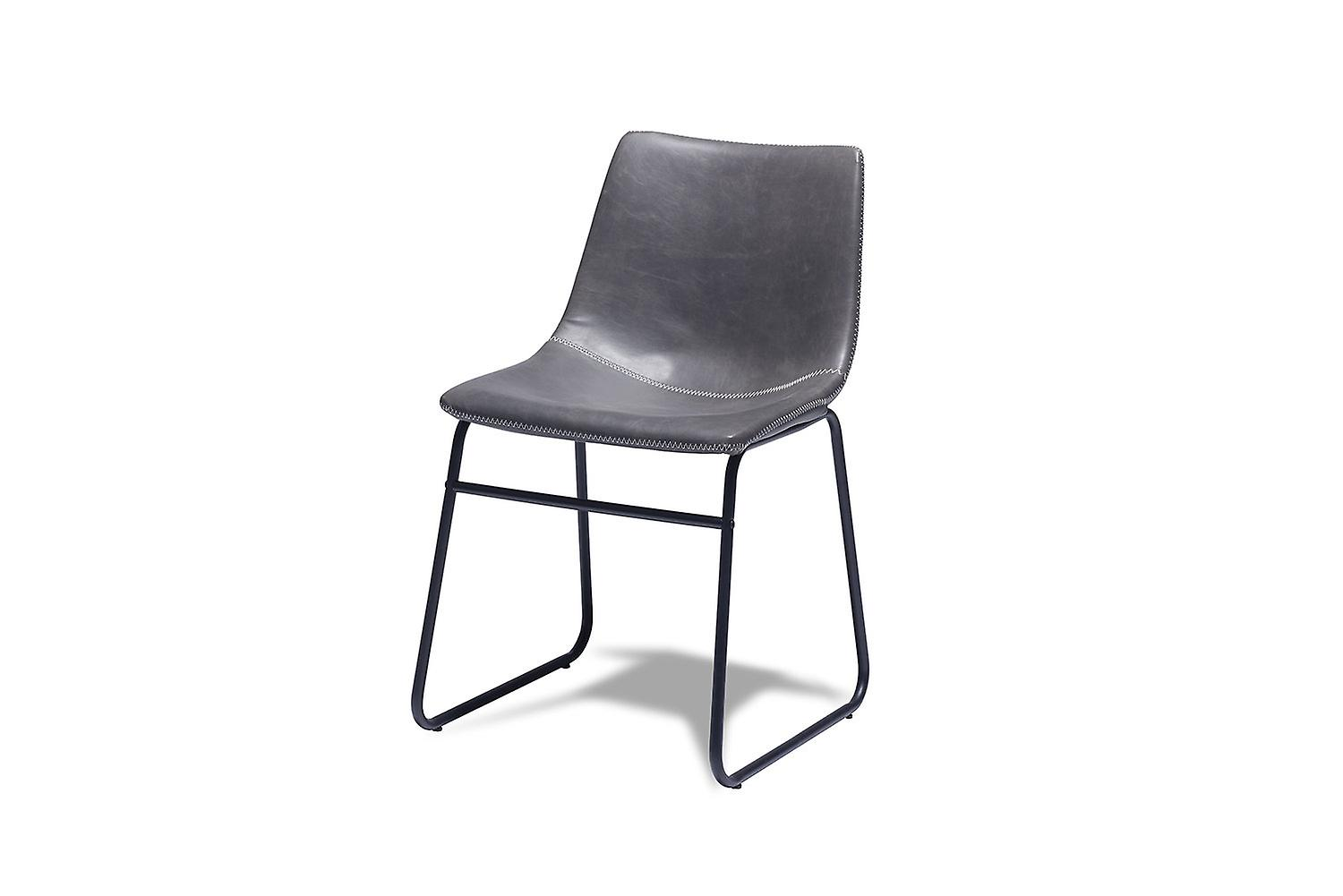 Furnhouse Indiana Dining Chair, Grey, Metal Base, 46x54x78 cm, Set of 2