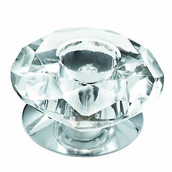 1 luz redonda refletor cromado e diamante superfície de vidro