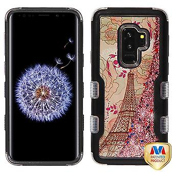 MYBAT Natural Black/Eiffel Tower & Rose Gold Sparkles TUFF Quicksand Glitter Hybrid Case for Galaxy S9 Plus
