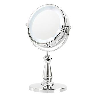 Danielle Double Sided Halo Light Pedestal Mirror 5x Magnification - Chrome