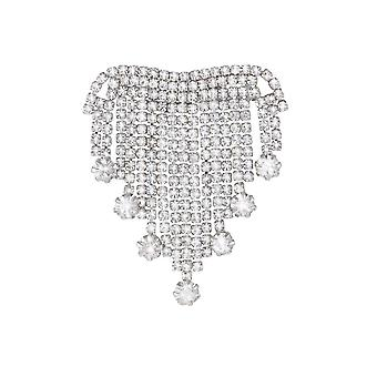 Eternal Collection Dazzler Clear Crystal Silver Tone Tassel Brooch
