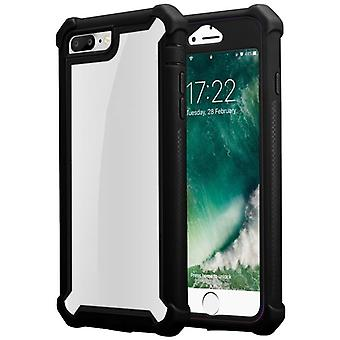 Cadorabo Case for Apple iPhone 7 PLUS / 7S PLUS / 8 PLUS Case Cover - 2-in-1 Phone Case with TPU Silicone Edge and Acrylic Glass Back - Protective Case Hybrid Hardcase Back Case