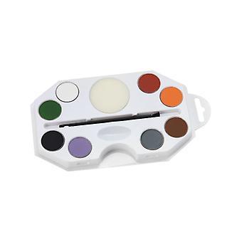 Smiffys maquillage FX, Aqua, Kit d'Halloween, couleurs assorties, palette de 8 couleurs avec éponge et applicateur pinceau déguisements accessoire