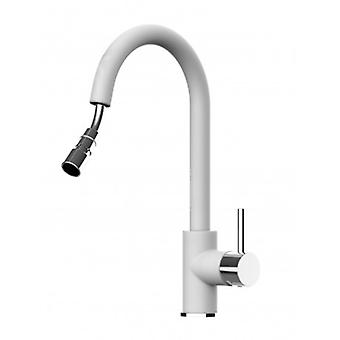 White Kitchen Single-lever Sink Mixer With Extractable Shower And High Swivel Spout - 474