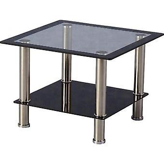 Harlequin Lamp Table Clear/black Glass/black Border/silver