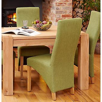 Oak Full Back Upholstered Dining Chair - Sage (Pack of Two)- Baumhaus