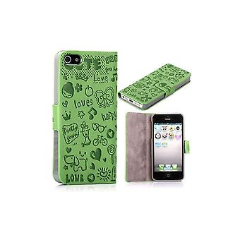 Green Cover Top Horizontal Magnetized Cartoon Pattern For IPhone 5