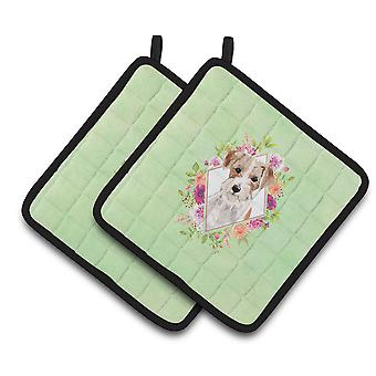 Jack Russell Terrier Green Flowers Pair of Pot Holders