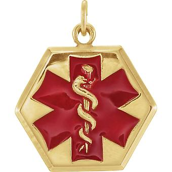 14k Yellow Gold 24.5x20mm Engravable Medical ID Pendant Necklace With Jump Ring Size 6.5 Jewelry Gifts for Women