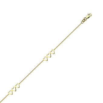 14k Yellow Gold Adjustable Open Love Heart Trio Anklet 10 Inch Jewelry Gifts for Women - 1.9 Grams