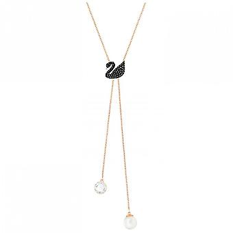 Swarovski Iconic Swan Double Y Necklace, Black, Rose Gold-tone Plated 5351806