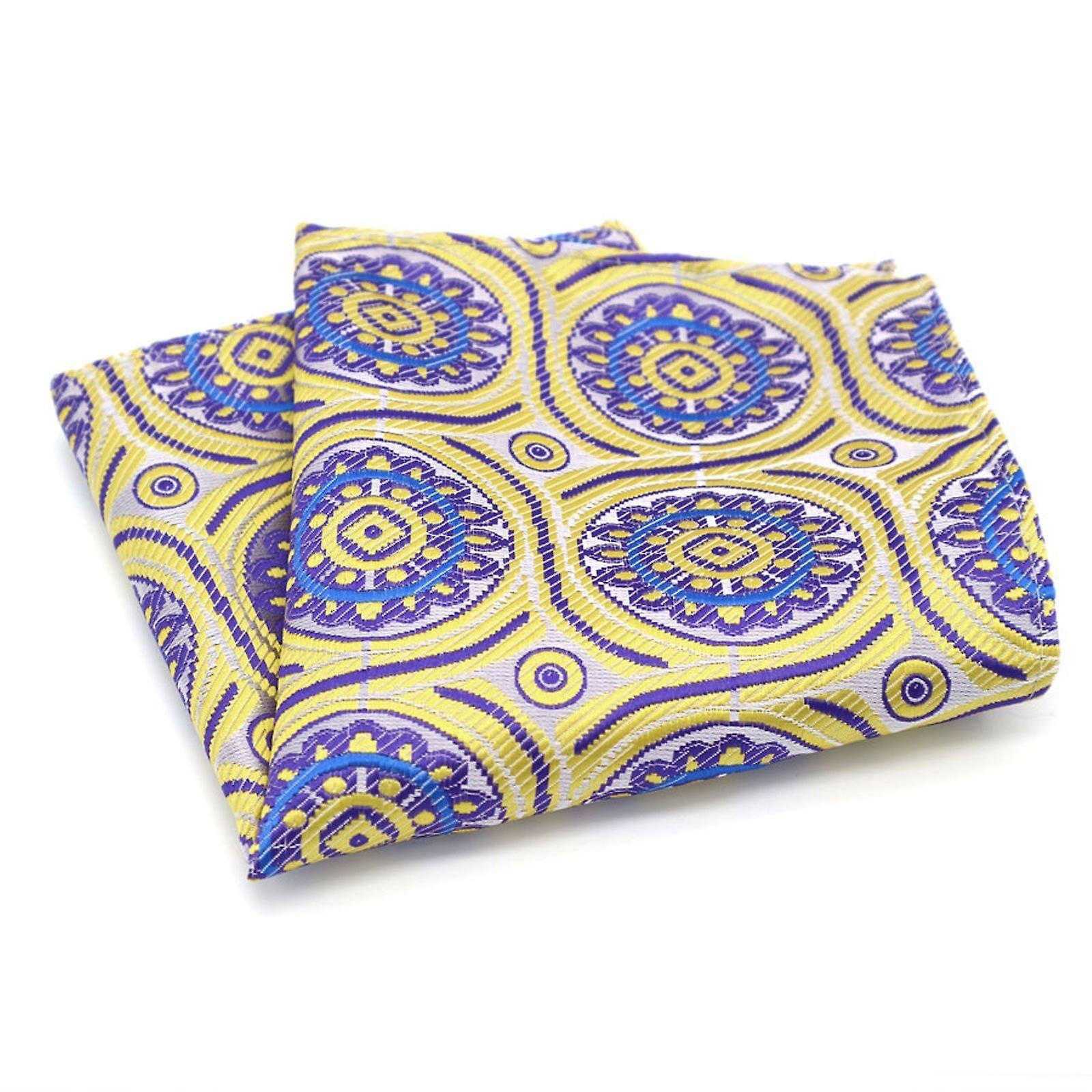 Yellow purple & blue patterned designer pocket square