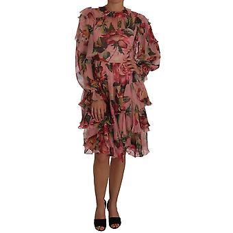 Dolce & Gabbana Roz trandafiri florale A-Line Shift Rochie