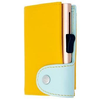 C-Secure Base Tap Series XL Coin Pocket Card Holder Wallet - Saffron/Aqua Blue