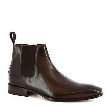 Leonardo Shoes Men's handmade classy ankle boots in dark brown calf leather