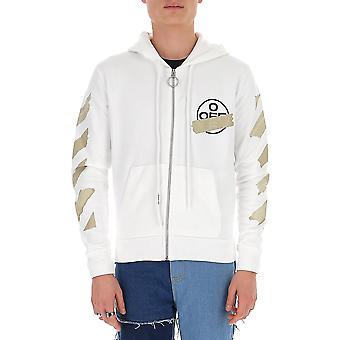Off-white Ombe001r20e300020148 Men's Beige/white Cotton Sweatshirt