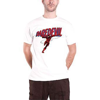 Daredevil T Shirt Stance Logo Official Marvel Comics Mens White