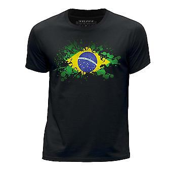 STUFF4 Boy's Round Neck T-Shirt/Brazil/Brazilian Flag Splat/Black