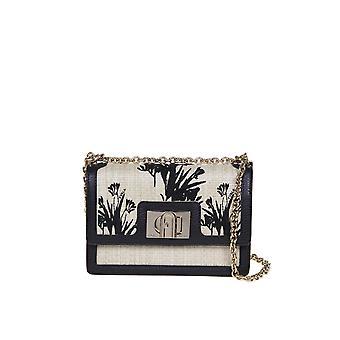 Furla 1065969 Women's Beige/black Other Materials Shoulder Bag