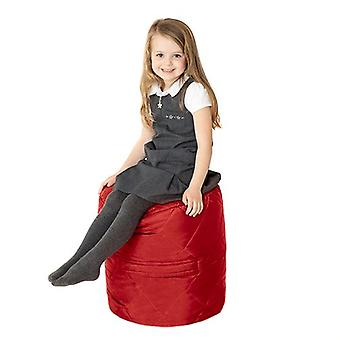 Fun!ture Quilted Round Kids Bean Bag | Outdoor Indoor Living Room Childrens Cylinder Beanbag Seating | Water Resistant | Vibrant Play Kids Colour Seat | High Quality & Comfy (Red)
