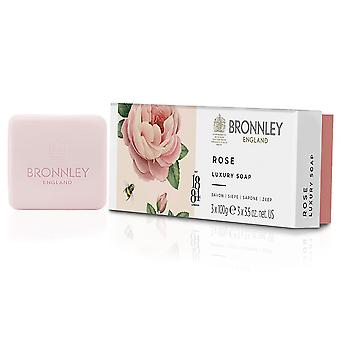 Bronnley Scented Handmade Soap - Rose Luxury Soap - dans Gift Box 3x100g
