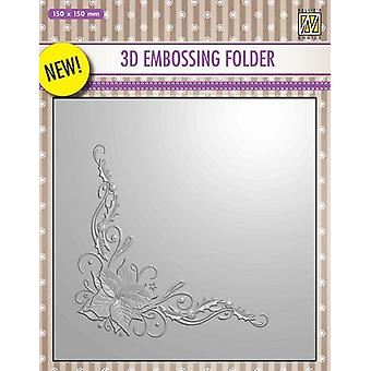 Nellie's Choice 3D Emb. folder Poinsetta Corner EF3D006 150x150mm