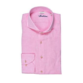 Stenstroms Fitted Linen Long Sleeved Shirt Pink