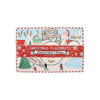 CGB Giftware Joy to the World Christmas Santa en Rudolph Placemats (Pack of 2)