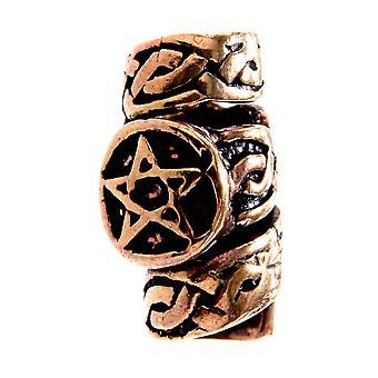 Beard bead pentagram - bronze