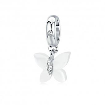 Sterling Silver Pendant Charm Butterfly Of Nacre - 6452
