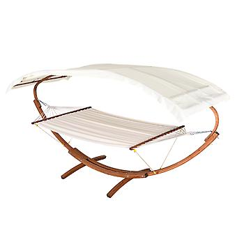 Outsunny Garden Patio Wooden Double Hammock Swing with Frame Stand - Cream