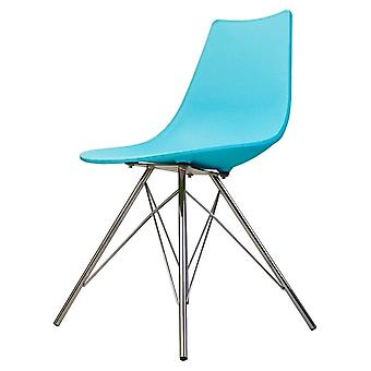 Fusion Living Iconic Pearl Blue Plastic Dining Chair With Chrome Metal Legs