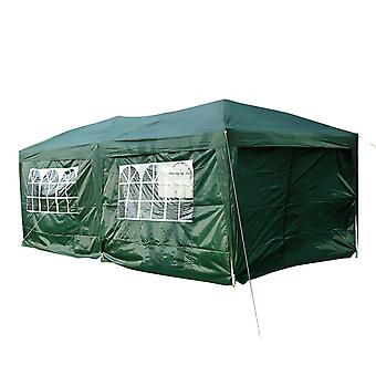 Outsunny 6m x 3m Garden Heavy Duty Water Resistant Pop Up Gazebo Marquee Party Tent Wedding Canopy Awning Green With Storage Bag