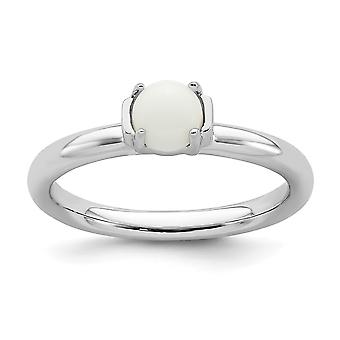 2.5mm 925 Sterling Silver Prong set Stackable Expressions Polished White Agate Ring Jewelry Gifts for Women - Ring Size: