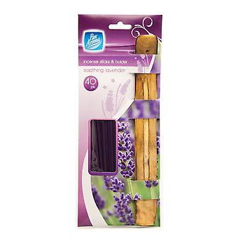 Pack Of 40 Incense Sticks With Ash Catcher / Holder ~ Soothing Lavender