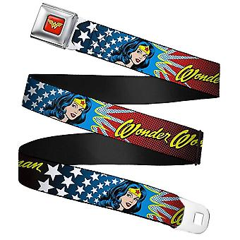 DC Comics Wonder Woman Face and Logo Seatbelt Buckle Belt
