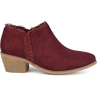 Brinley Co Womens Faux Suede Fringe Ankle Booties