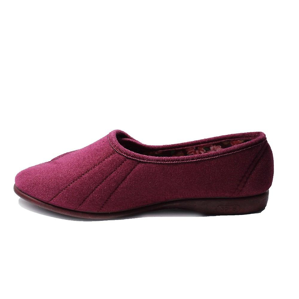 GBS Audrey Heather Velour Womens Adjustable Rip Tape Slippers