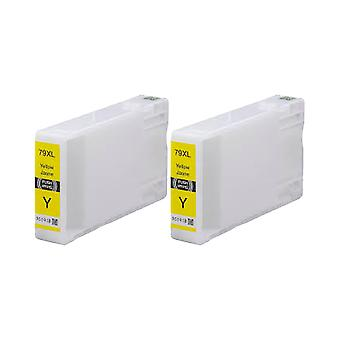 RudyTwos 2x Replacement for Epson 79XL(TowerofPisa) Ink Unit Yellow Compatible with WorkForce Pro WF-4630DWF, WF-4640DTWF, WF-5110DW, WF-5190DW, WF-5620DWF, WF-5690DWF