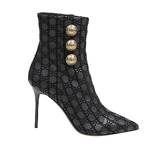 Balmain Un1c522lnkm0pa Women's Black Leather Ankle Boots